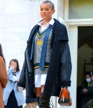 Jordan-Alexander-Gossip-Girl-Black-Shearling-Coat-Image