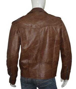Men's Brown Brando Style Biker JacketBack