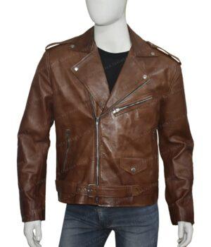 Men's Brown Brando Style Biker JacketFront