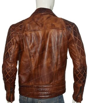 Mens Vintage Distressed Brown Biker Jacket Back