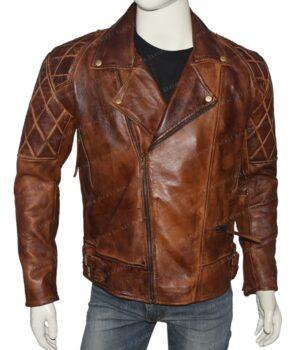 Mens Vintage Distressed Brown Biker Jacket Front