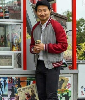 Shang Chi Simu Liu Red Cotton Bomber Jacket Image