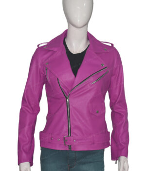 Womens-Slim-Fit-Pink-Stylish-Biker-Jacket-Front