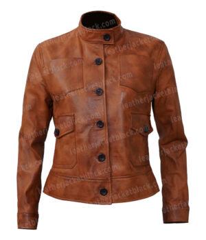 Katheryn Winnick Big Sky Brown Leather Jacket Front
