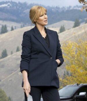 Kelly Reilly Yellowstone Season 03 Beth Dutton Cotton Blue Blazer