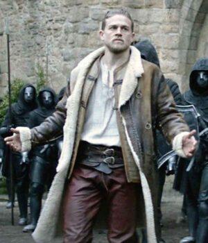 King Arthur Legend Of The Sword Brown Shearling Inner Coat