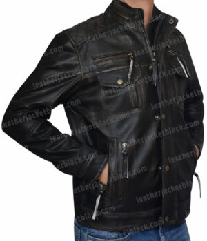 Men Cafe Racer Quilted Brown Biker Jacket Right