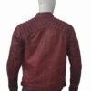 Men's Cafe Racer Distressed Maroon Leather Jacket Back