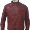 Men's Cafe Racer Distressed Maroon Leather Jacket Front