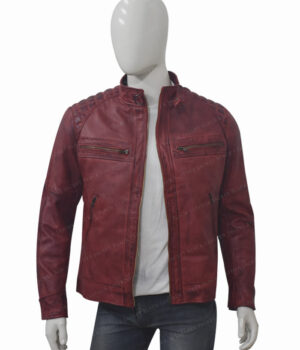 Men's Cafe Racer Distressed Maroon Leather Jacket Front Open