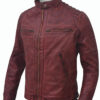 Men's Cafe Racer Distressed Maroon Leather Jacket Right Side