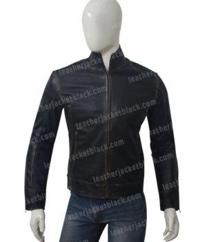Mens Distressed Black Motorcycle Jacket Front