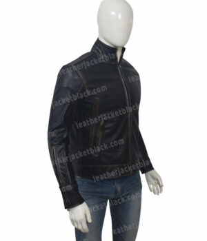 Mens Distressed Black Motorcycle Jacket Right