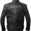 Men's Skull Embossed Crossbones Black Biker Jacket Back