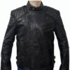 Men's Skull Embossed Crossbones Black Biker Jacket Front