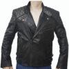 Men's Skull Embossed Crossbones Black Biker Jacket Front Open