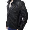 Men's Skull Embossed Crossbones Black Biker Jacket Right Side