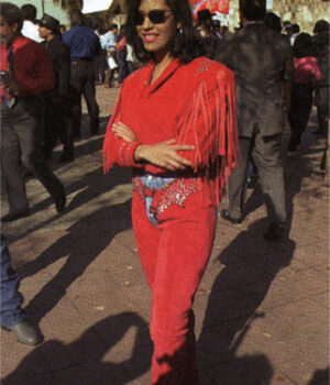 Selena The Series Quintanilla Red Fringe Studded Leather Jacket