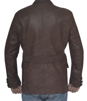 Sheepskin Leather Brown Blazer Coat Back