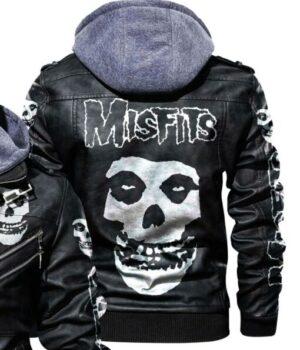Skull Printed Misfits Hooded Leather Varsity Jacket Back
