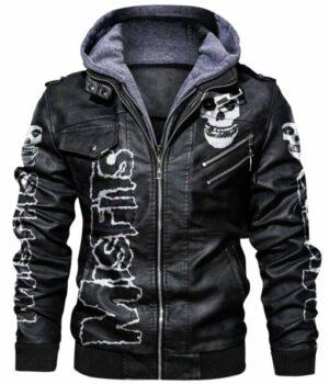 Skull Printed Misfits Hooded Leather Varsity Jacket Front