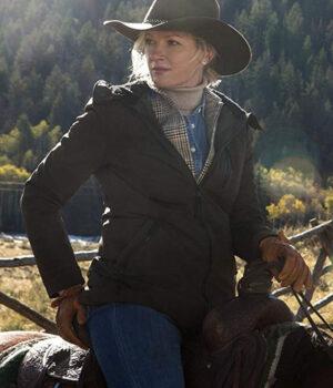 Tv_Series_Yellowstone_Gretchen_Mol_Grey_Cotton_Jacket
