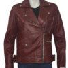 Women Biker Burgundy Genuine Leather Jacket Front