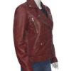 Women Biker Burgundy Genuine Leather Jacket Left Side