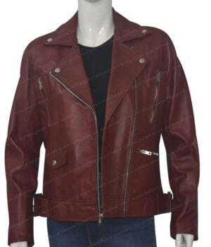 Women Biker Burgundy Genuine Leather Jacket Open Front