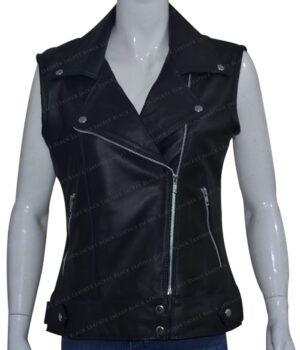 Women Slim Fit Black Real Leather Biker Vest Front
