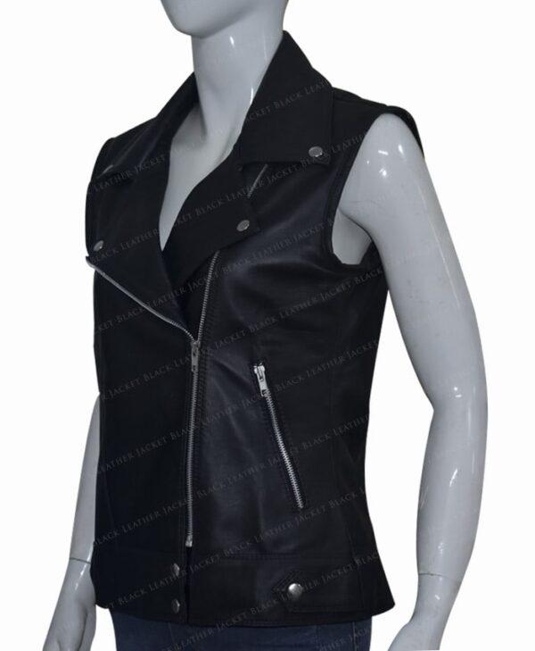Women Slim Fit Black Real Leather Biker Vest Right