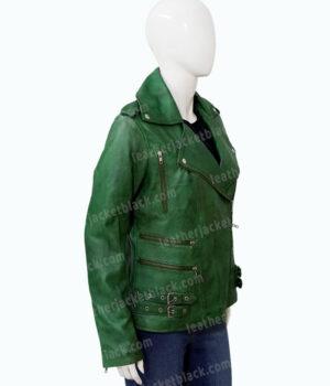 Womens Biker Green Lambskin Leather Jacket Right