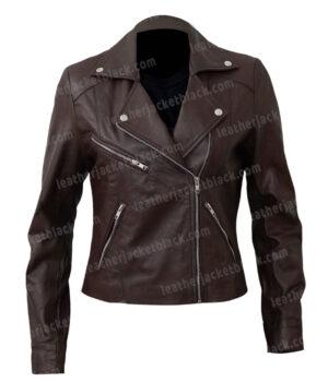 Women's Motorcycle Brown Sheepskin Leather Jacket