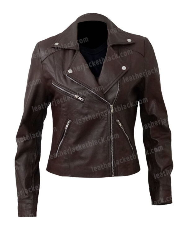 Women's Motorcycle Brown Leather Jacket