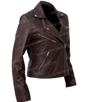 Women's Motorcycle Brown Sheepskin Leather Jacket Right