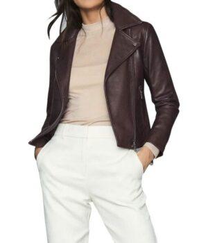 Big Sky Jenny Hoyt Maroon Biker Leather Jacket