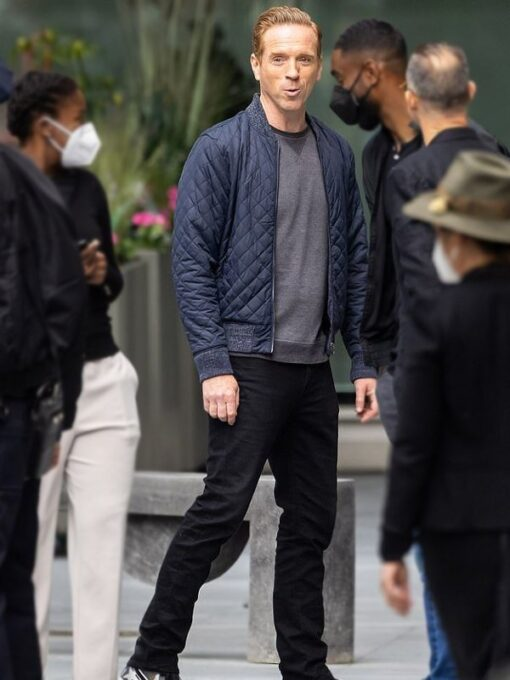 Billions Bobby Axelrod Blue Quilted Bomber Jacket 2