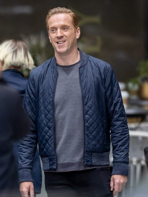 Billions Bobby Axelrod Blue Quilted Bomber Jacket