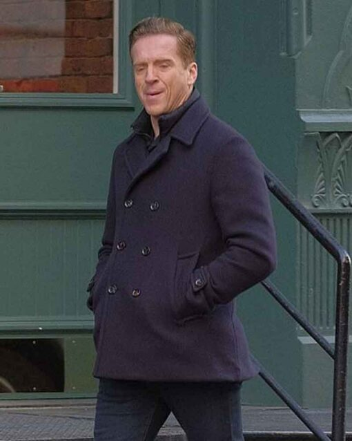 Billions S04 Bobby Axelrod Blue Double Breasted Peacoat