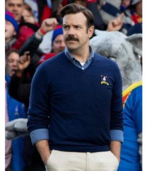 Jason Sudeikis Ted Lasso Blue Sweater Jacket