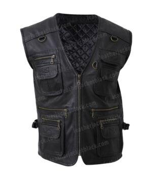 Men's Safari Workwear Black Leather Vest Front