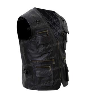 Men's Safari Workwear Black Leather Vest Left
