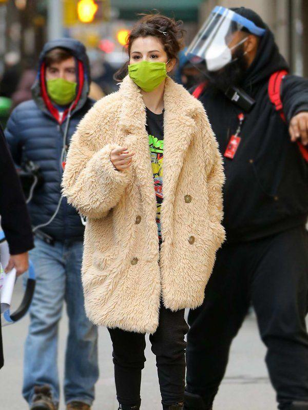 Only Murders In The Building Mabel Mora Beige Fur Coat 2