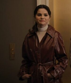 Only Murders in the Building Mabel Mora Maroon Leather Coat