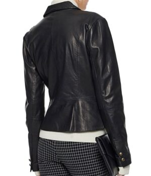 Riverdale Alice Cooper Black Leather Blazer Jacket Back