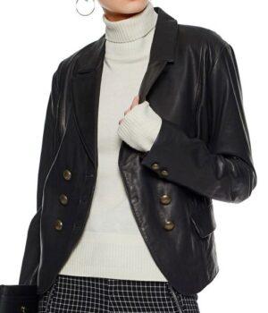 Riverdale Alice Cooper Black Leather Blazer Jacket Front