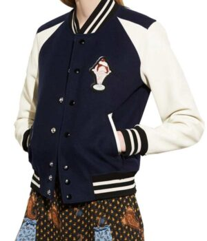 Riverdale Betty Cooper Blue And White Fleece Varsity Jacket Front