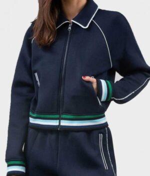 Riverdale S04 Betty Cooper Blue Fleece Bomber Jacket Front