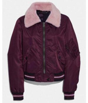 Riverdale S04 Betty Cooper Burgundy Satin Bomber Jacket Front