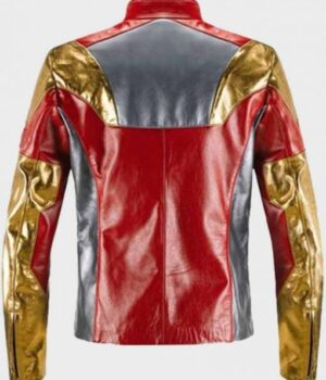 Spider-Man Homecoming Iron Man Multicolor Leather Jacket Back